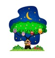 Owls family in the park at night vector image vector image