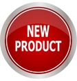 Red round new product button vector image vector image