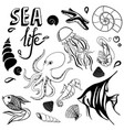 sea life hand drawn sketch with seahorse fish vector image vector image