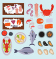 seafood set design flat fish vector image