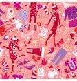 Seamless pattern in pink colors - Silhouettes vector image