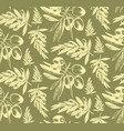 seamless pattern olive brancheshand drawn vector image vector image