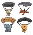 set of animal parachuting vector image vector image