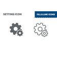 setting icon fill and line flat design vector image