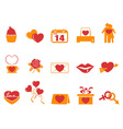 simple color Valentines Day icons vector image