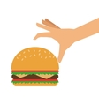 single hamburger and hand icon vector image vector image
