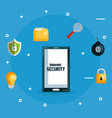 smartphone with internet security icons vector image