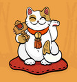 talisman cat beckoning wealth with hammer vector image vector image