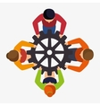 teamwork team persons gears design isolated vector image