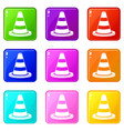 traffic cone set 9 vector image vector image
