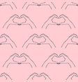 trendy seamless pattern gesture - heart made vector image