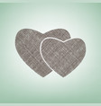 two hearts sign brown flax icon on green vector image vector image