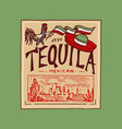 vintage tequila label badge with vineyard alcohol vector image
