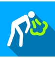 Vomiting Person Flat Long Shadow Square Icon vector image vector image