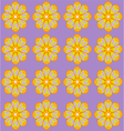 Yellow amber flowers on lilac backdrop vector image vector image