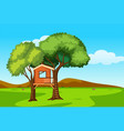 a tree house in nature landscape vector image vector image