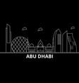 abu dhabi silhouette skyline united arab emirates vector image
