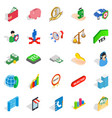 bankrupt icons set isometric style vector image vector image