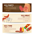 bbq horizontal promo banners barbecue web vector image vector image