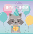 birthday card with little raccoon character vector image