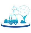 blue silhouette agrimotor car in the city with vector image
