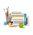 books painting paints brushes isolated on white vector image vector image