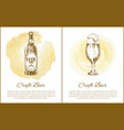 bottled and draft beer with text vector image vector image