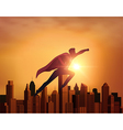 Business Superhero with city vector image vector image