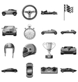 Car racing icons set gray monochrome style vector image