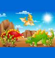 cartoon happy dinosaurs living in the desert vector image vector image