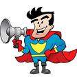 Cartoon of an Super Hero Talk in Megaphone vector image vector image