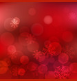 christmas red background with snowflakes sparkles vector image