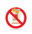 cigarettes pack prohibition sign vector image