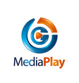 circle three dimensional media play logo concept vector image