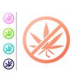 coral stop marijuana or cannabis leaf icon vector image vector image