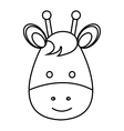 cute little giraffe animal character vector image vector image