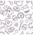 doodle style unicorn sweets donuts seamless vector image