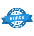 ethics ribbon ethics round blue sign ethics vector image vector image
