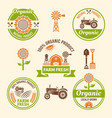 farm fresh food and organic products badges vector image vector image