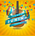 festa junina with acoustic guitar vector image vector image
