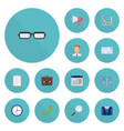 flat icons costume portfolio calendar and other vector image vector image