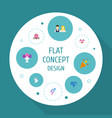 flat icons couple posy brilliant and other vector image vector image