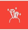 Gemstones line icon vector image