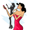 glamorous lady with big lips makes selfie vector image