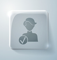 Glass square icon with highlights add friend vector image vector image