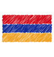 hand drawn national flag of armenia isolated on a vector image vector image