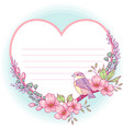 heart shaped floral greeting card vector image