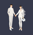 Hipster wedding couple in suit pants holding