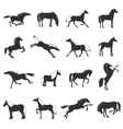 horse breeds silhouettes black icons set vector image