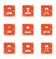 human personality icons set grunge style vector image vector image